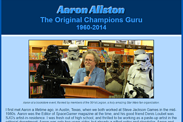 Author and Game Designer Aaron Allston